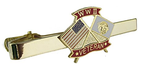 WWII Veteran Tie Bar Crossed Flags