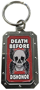Skull Death Before Dishonor Red/Silver Metal Key Chain