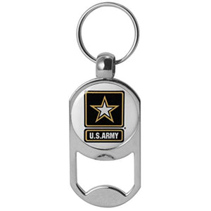 U.S. Army Star Logo Dog Tag Bottle Opener Military Keychain