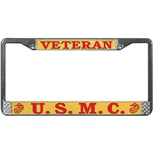 U.S. Marine Veteran Chrome Metal License Plate Frame