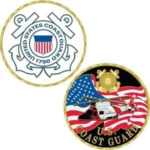 Coast Guard Military Branch Challenge Coin - Colorized with Raised Details
