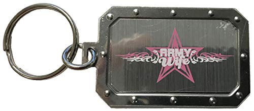Army Wife Star and Scroll Design Silver Metal Key Chain