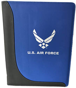 U.S. Air Force Symbol Metallic Silver Imprint on Blue/Black Duo Tone Bi-Fold Padfolio