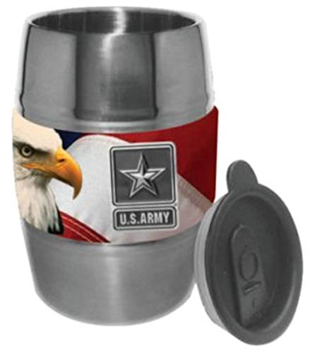 U.S. Army Star with Flag Barrel Mug - 12oz Stainless Steel