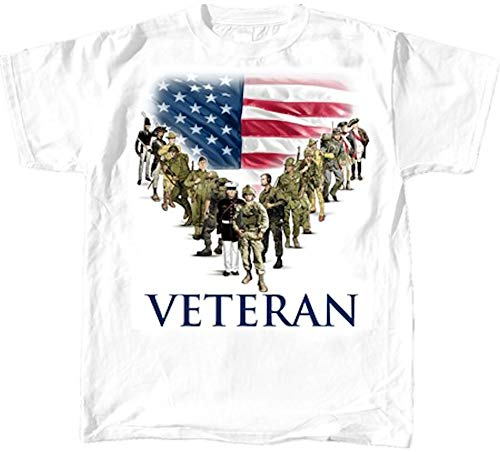 Military Veterans T-Shirt - Historic Uniform Tee with Flag