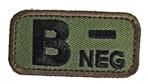 Blood Type Patches - Mil-Spec Monkey WOODLAND (B- NEGATIVE)