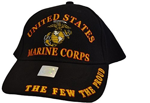 Men's USMC The Few The Proud Embroidered Ball Cap Adjustable Black