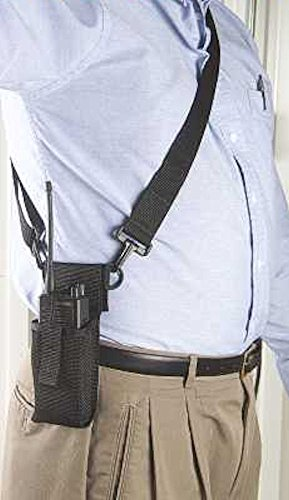 Raine Adjustable Radio Holder with Shoulder Strap - BLACK
