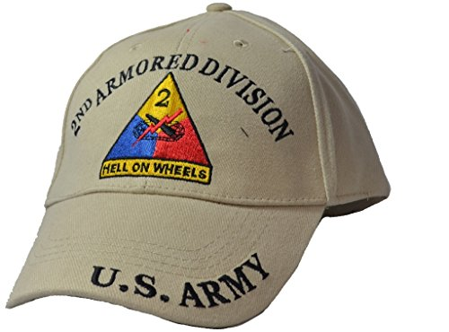 Mens 2nd Armored Division Tan Embroidered Ball Cap Adjustable Tan