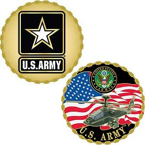 U.S. Army Challenge Coin | Army Star/Apache Style | Beautiful Enamel 2 Sided Design | 100% Satisfaction Guarantee