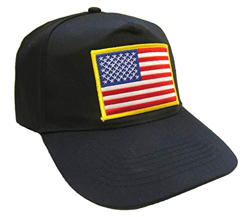 Eagle Crest American Flag Patch Hat - Black