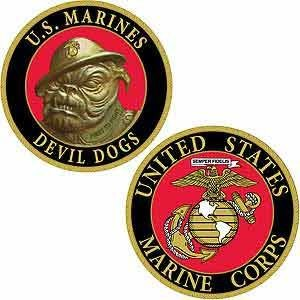 CHALLENGE COIN US MARINE CORPS DEVIL DOGS (1-5/8
