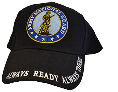 Men's Army National Guard Embroidered Ball Cap Adjustable Black