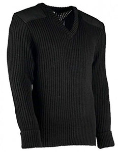 TW Kempton York Woolly Pully Vee Neck Sweater with Patches