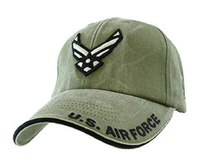 Eagle Crest U.S. Air Force Wings Logo Tonal Washed Mens Cap [Olive Drab Green - Adjustable]