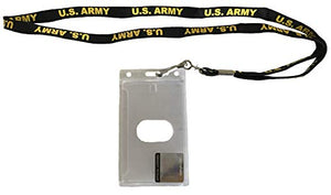 U.S. Army Lanyard Badge Holder - Black Lanyard with Yellow Text