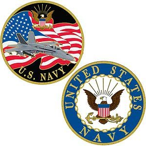 U.S. Navy Challenge Coin | Navy Eagle Style | Beautiful Enamel 2 Sided Design | 100% Satisfaction Guarantee