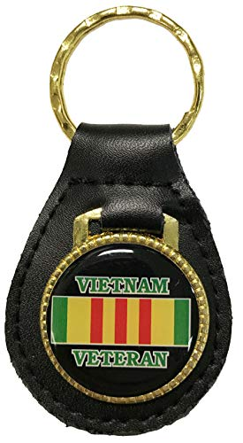 Vietnam Veteran with Campaign Ribbon on Leather Key Fob