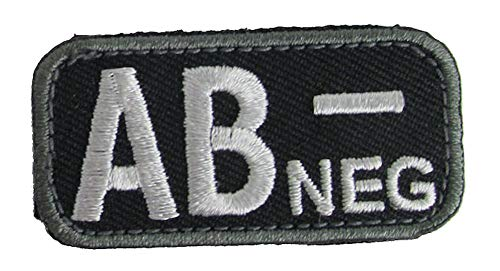 Blood Type Patches - Mil-Spec Monkey BLACK (AB- NEGATIVE)