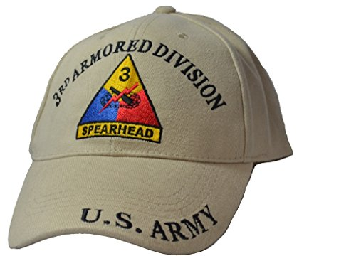 Mens 3rd Armored Division Tan Embroidered Ball Cap Adjustable Tan