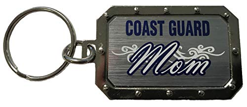 Coast Guard Mom Silver Metal Key Chain