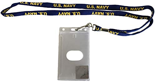 U.S. Navy Lanyard Badge Holder - Navy Lanyard with Yellow Text
