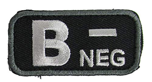 Blood Type Patches - Mil-Spec Monkey BLACK (B- NEGATIVE)