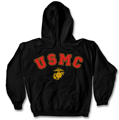 USMC Hoodie Sweatshirt with EGA Logo - Black