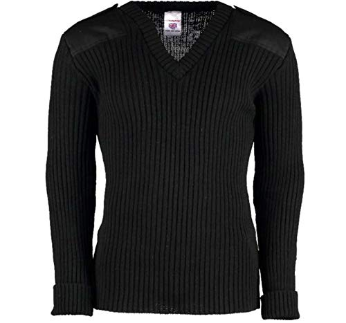 York Woolly Pully Vee Neck Sweater with Patches with Epaulets