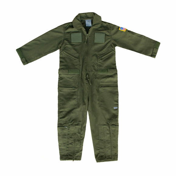 Trooper Kids Military Flight Suit with Patches - Sage Green