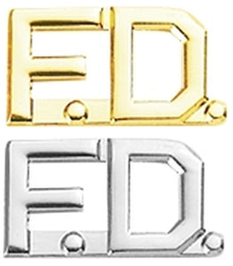 Fire Department FD Collar Letter Insignia - No Shine Metal Pin-On - PAIR