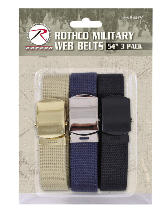 Rothco 54 Inch Military Web Belts in 3 Pack Khaki / Navy Blue / Black