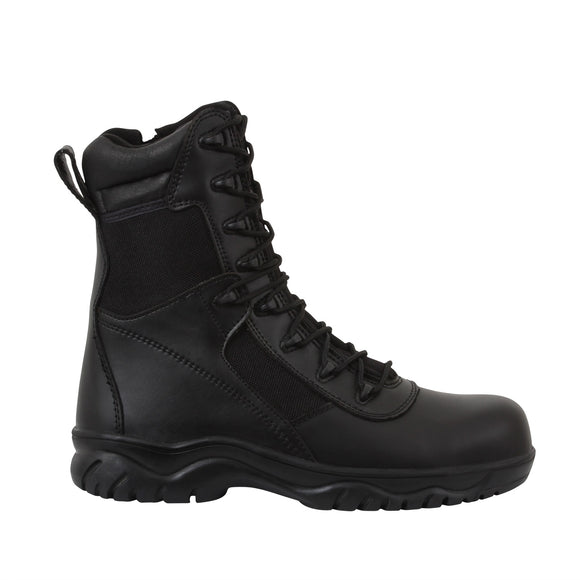Rothco 8 Inch Forced Entry Tactical Boots With Side Zipper & Composite Toe - Black