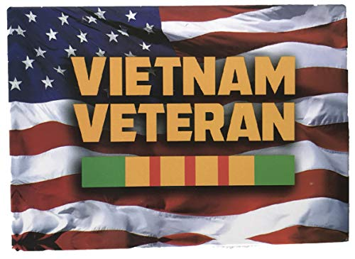 American Flag with Vietnam Veteran Ribbon - Novelty Military Magnet