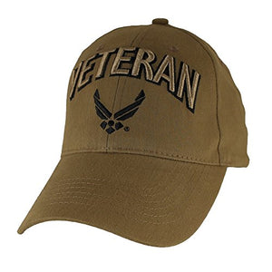 U.S. Air Force Veteran Baseball Hat, Coyote Brown