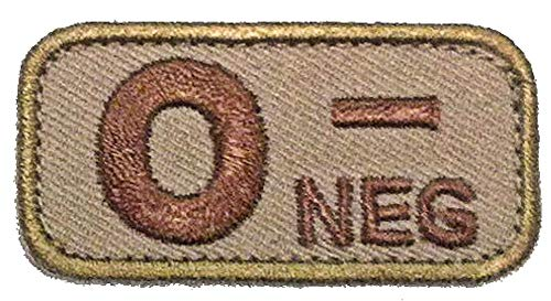 O NEGATIVE Blood Type Patch - DESERT