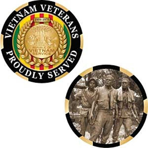 Vietnam Veterans - Proudly Served - Challenge Coin, 1-3/4""