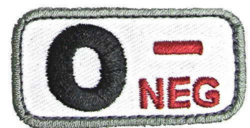 Blood Type Patches - Mil-Spec Monkey MEDICAL (O- NEGATIVE)