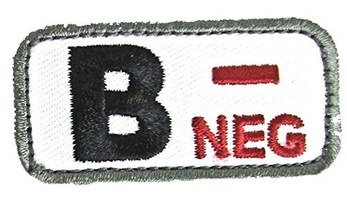 Blood Type Patches - Mil-Spec Monkey MEDICAL (B- NEGATIVE)