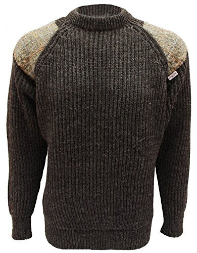 Gamekeeper Chunky Crew Neck Sweater with Harris Tweed Patches