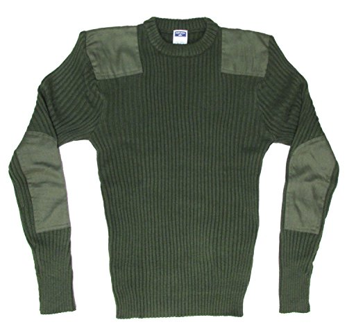 Military Style Crew Neck Acrylic Sweater with Patches