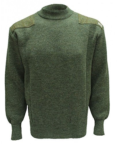 Drover Crew Neck Sweater with Harris Tweed Patches