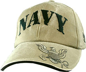 Eagle Crest U.S. Navy Embroidered Cap with Logo. Khaki