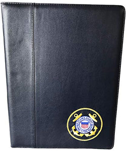 United States Coast Guard Crest DEMB on Soft Faux Leather Bi-Fold Padfolio