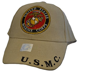 Men's USMC Tan Logo Embroidered Ball Cap Adjustable Tan