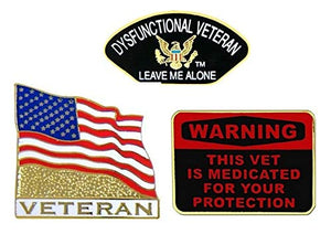 U.S. Military Veteran Pins - Novelty Hat Pin 3 PACK