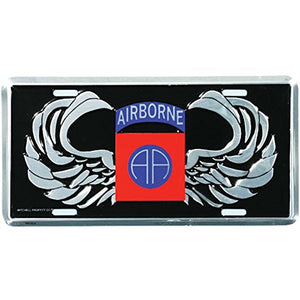 Honor Country 82nd Airborne License Plate, AA Wings