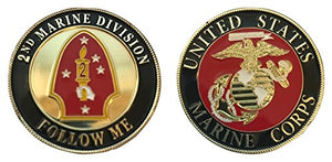 US Marine Corps - 2nd Marine Division - Challenge Coin - 1-5/8