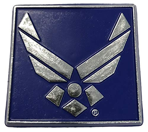 Metalic Silver U.S. Air Force Symbol on Blue Small Square Magnet