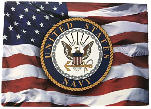 American Flag with U.S. Navy Crest - Novelty Military Magnet